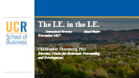 The International Economy In The Inland Empire
